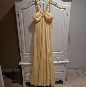 Yellow Chiffon Evening Gown/ Prom Dress